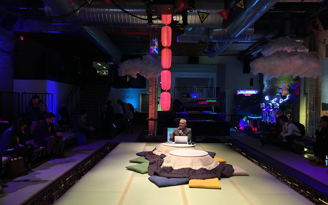 The stage at New Japan Islands, designed to resemble a Japanese living room