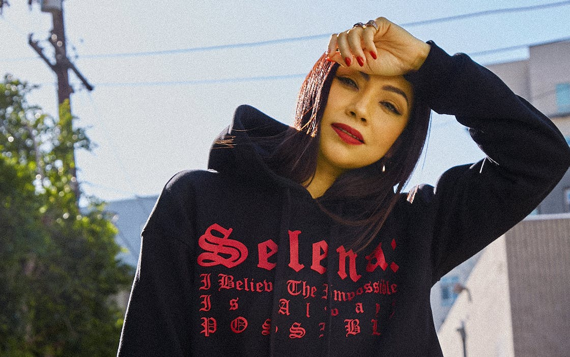 A Selena sweatshirt from the Forever 21 collection