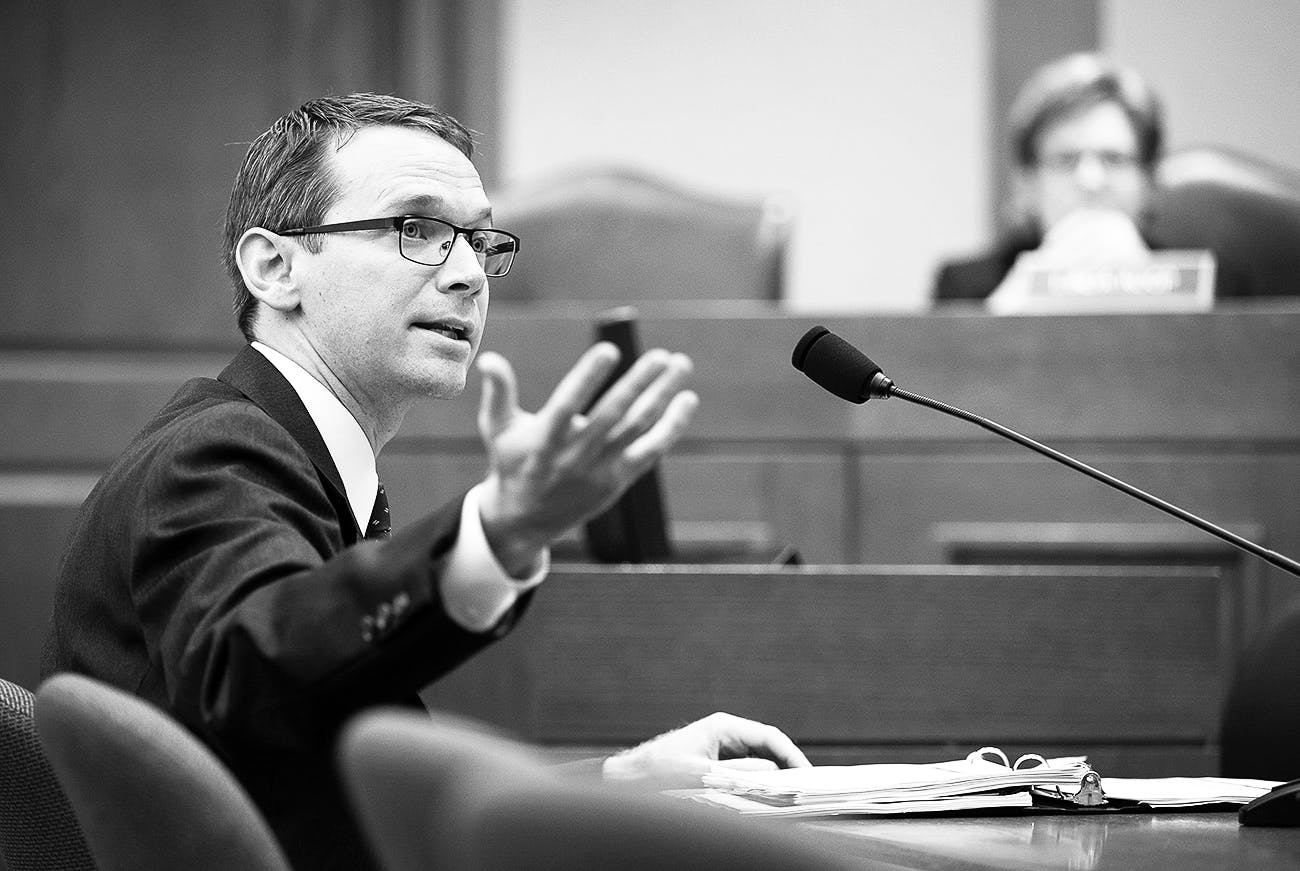 Commissioner of Education Mike Morath speaks at the Capitol, in Austin, on October 12, 2017.
