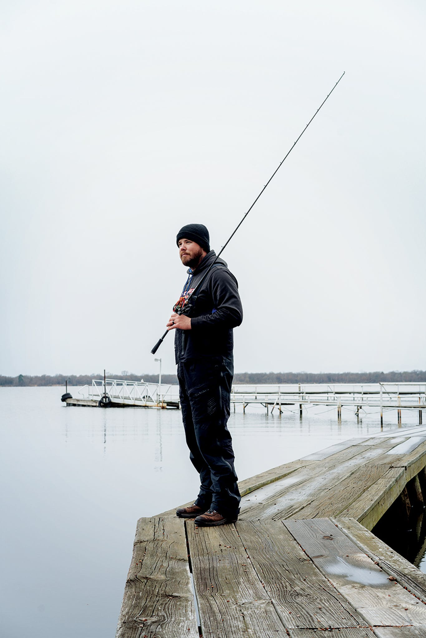 Kevin Bryant, 30, of Flower Mound, on the Minnow Bucket Marina boat dock.
