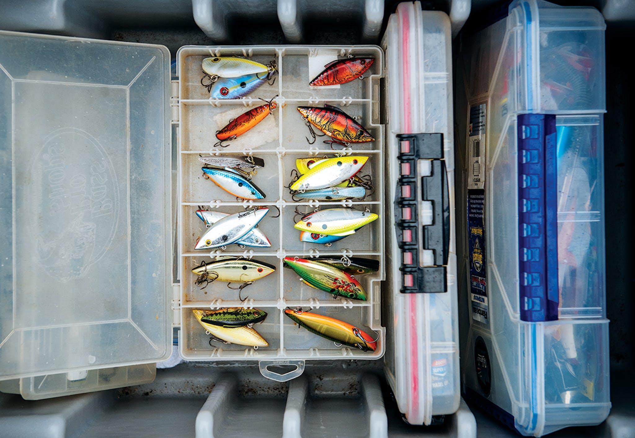 A tackle box of crankbaits.