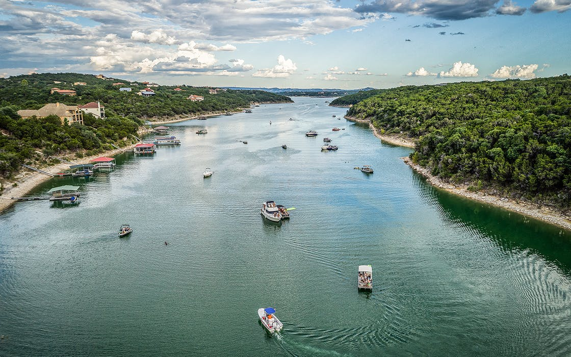 Boats on Lake Travis in Austin.