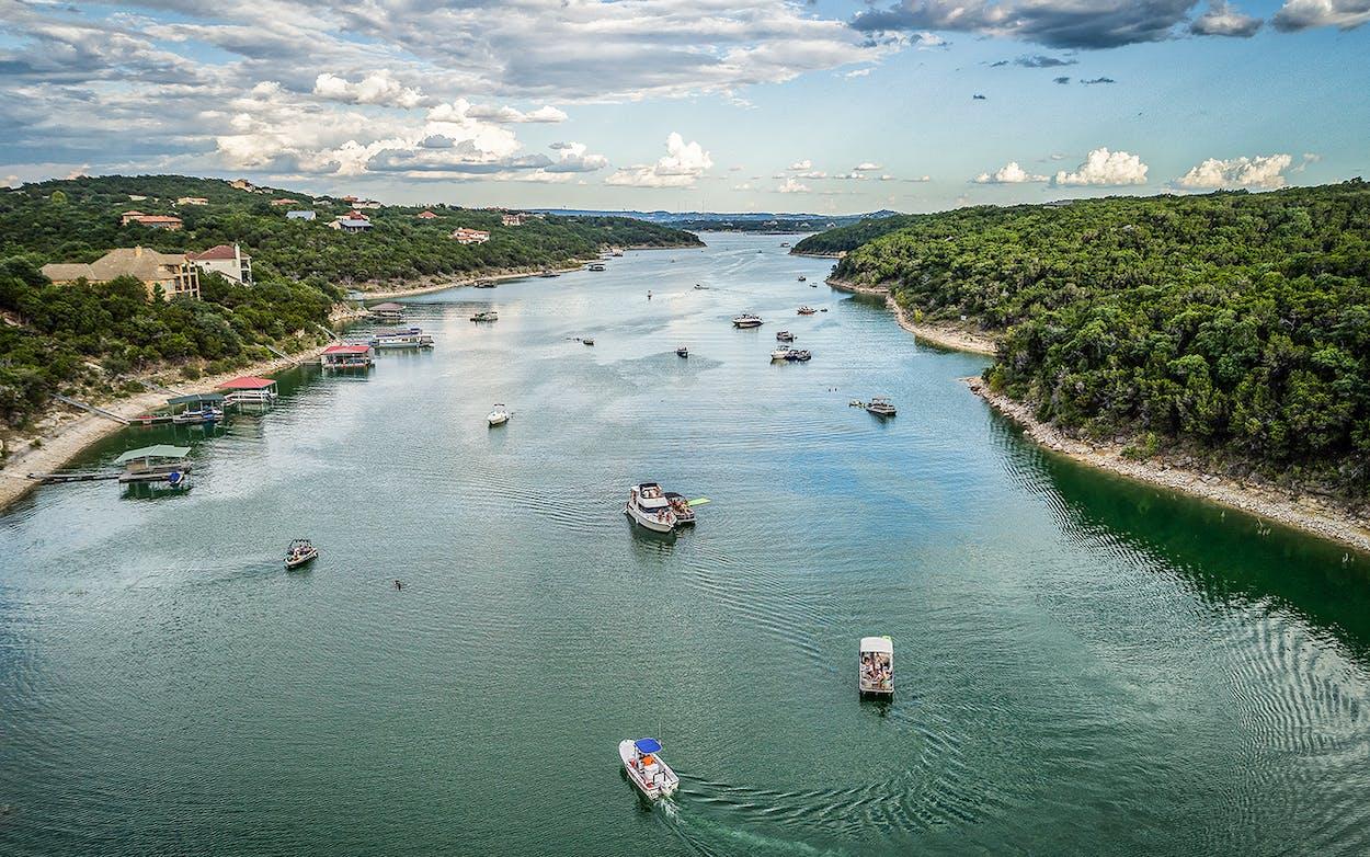 Boats on Lake Travis in Austin.