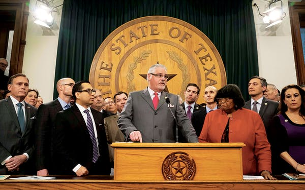 House Committee on Public Education chair Dan Huberty unveils details of the school finance bill on March 5, 2019, in Austin.