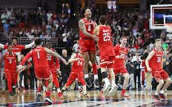 The Texas Tech Red Raiders celebrate their victory against the Gonzaga Bulldogs during the 2019 NCAA Men's Basketball Tournament West Regional on March 30, 2019 in Anaheim, California.