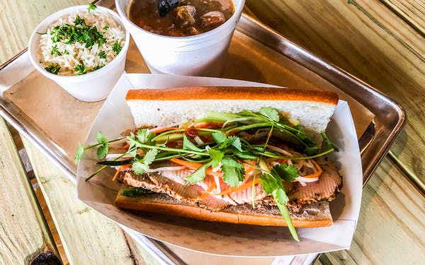 A smoked turkey banh mi from Blood Bros. BBQ