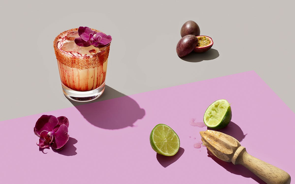 The Wall-arita cocktail at Ruins in Dallas is a blend of mezcal, tequila, passion fruit, and peppers swirled with chicha morada (a purple corn–based Peruvian beverage).