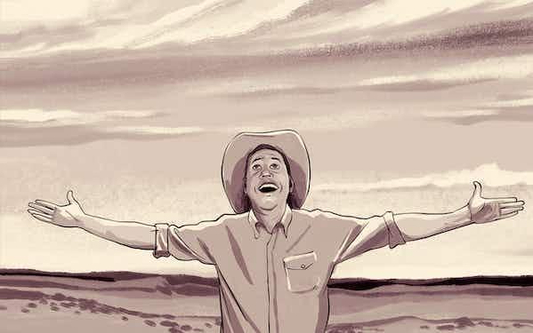 Texanist in wide open Texas sky
