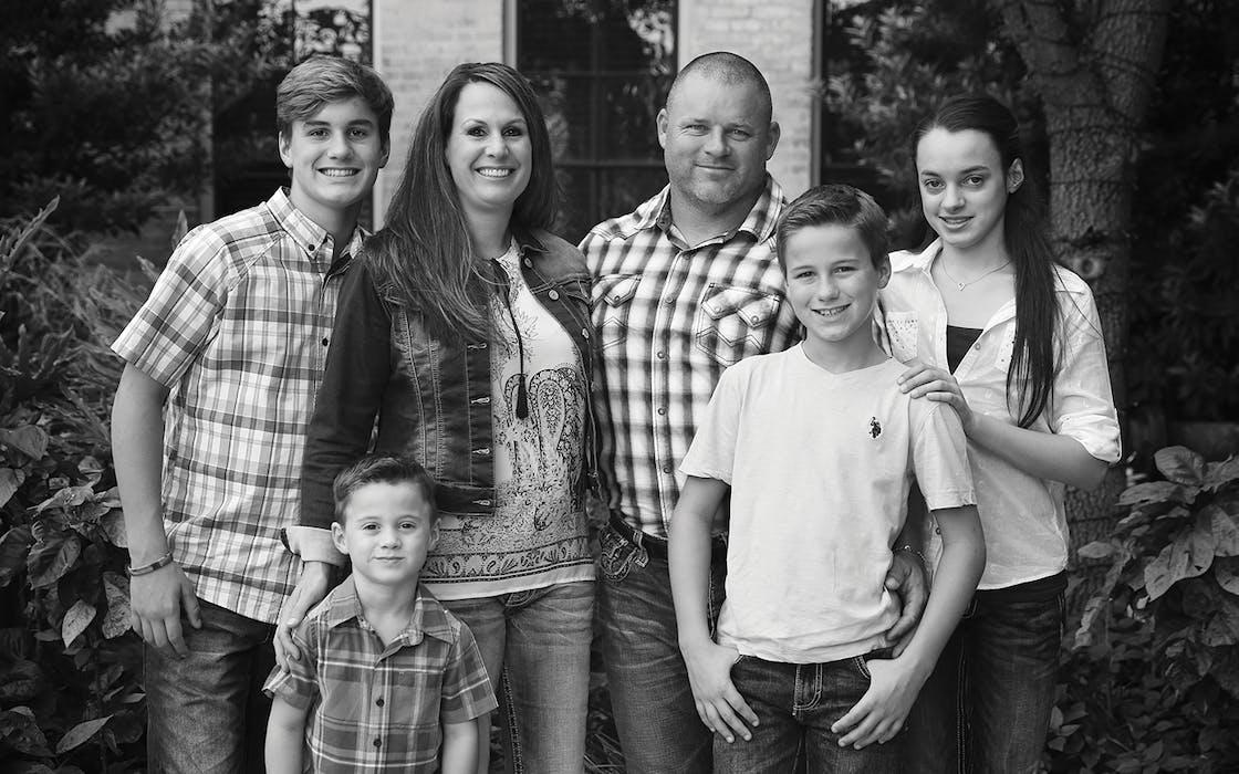 The Fulton family (Reid, Owen, Audrey, James, Ayden, Hailey) in San Antonio's Pearl district in October 2017.