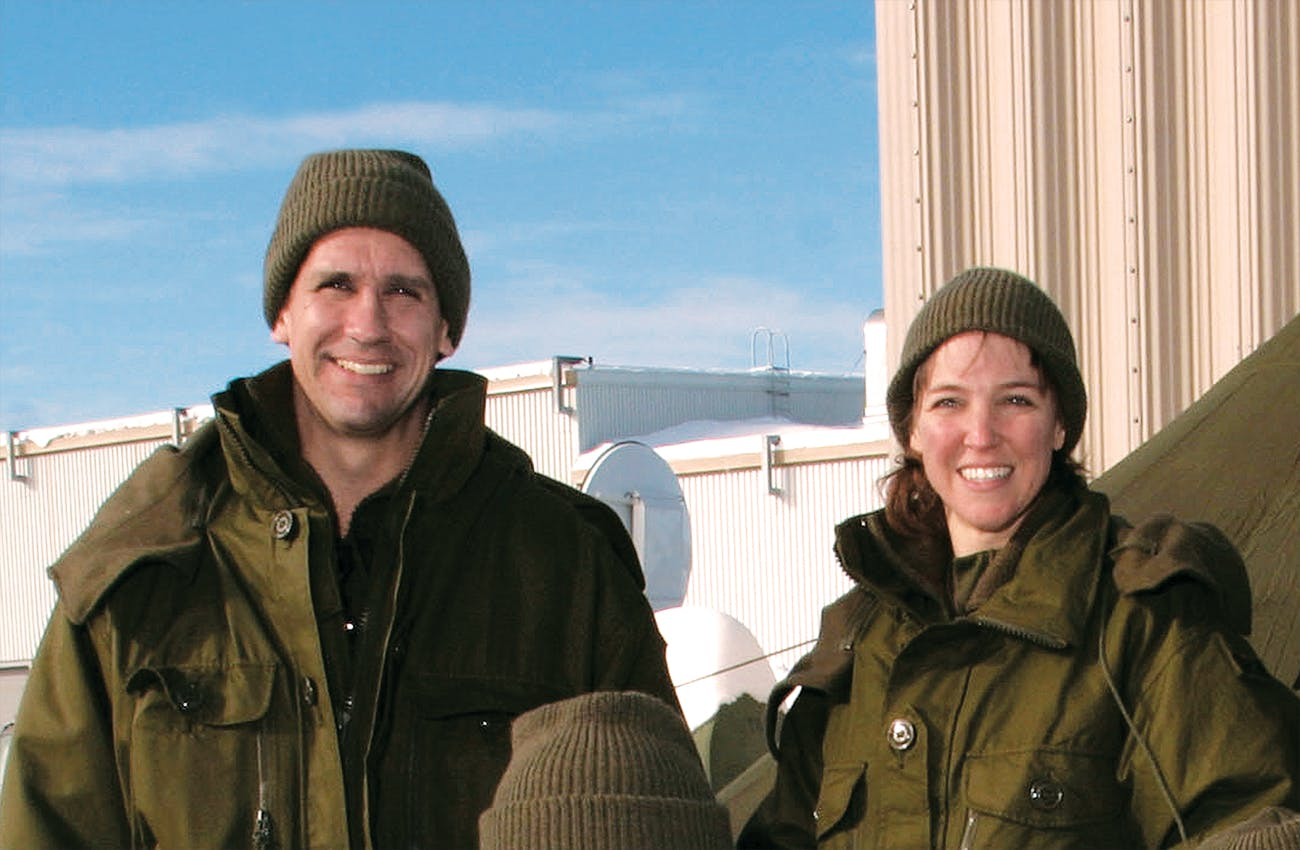 Oefelein and Nowak during winter training near Quebec, in January 2004, not long after their affair began.