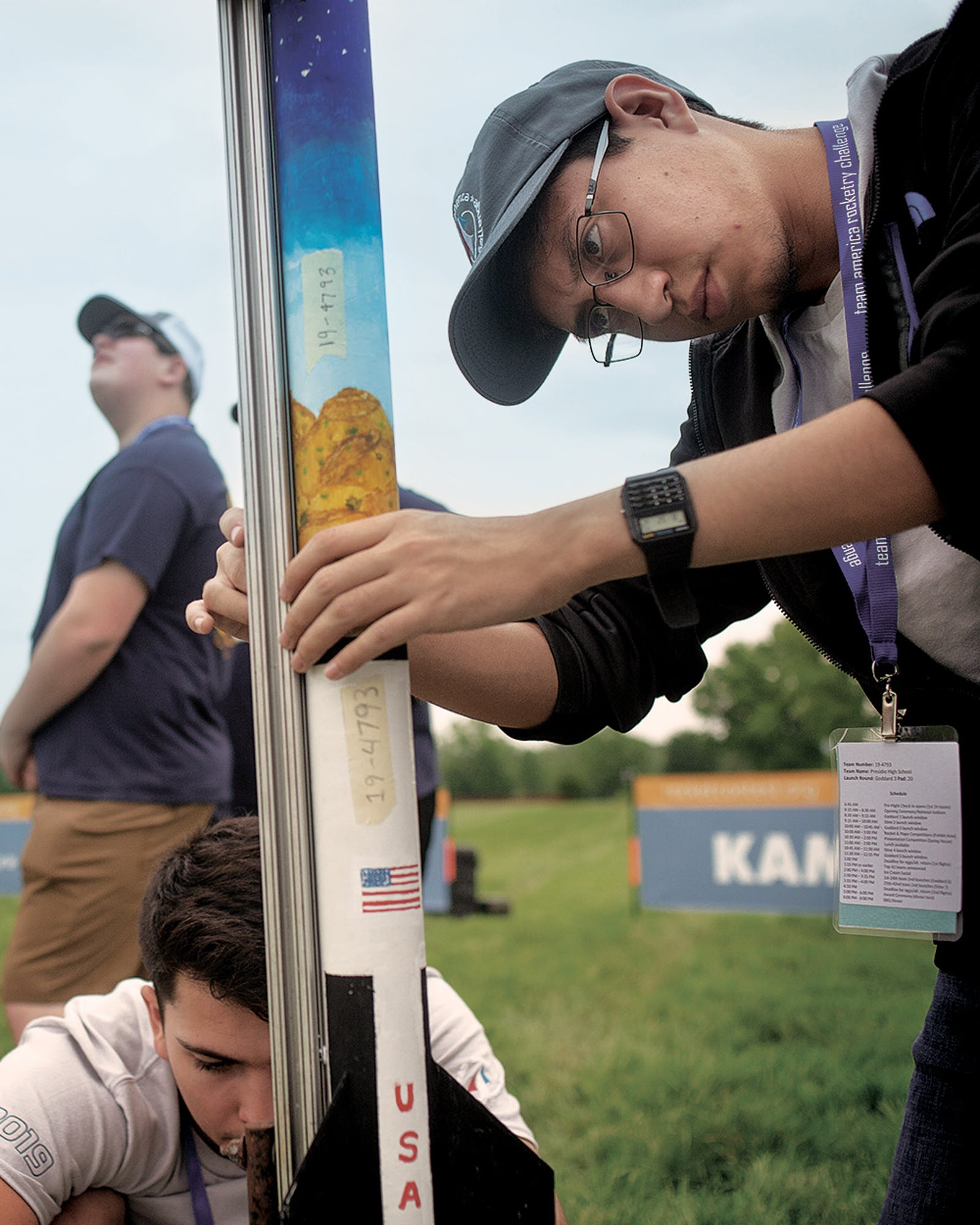 Aaron Bustamante and Uribe make adjustments to their rocket, Agripino, at the 2019 Team America Rocketry Challenge national finals in The Plains, Virginia, on May 18, 2019.