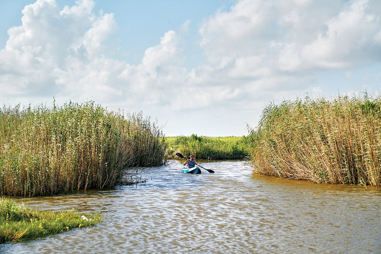 Blake Cliett, of Groves, kayaks through the marsh.