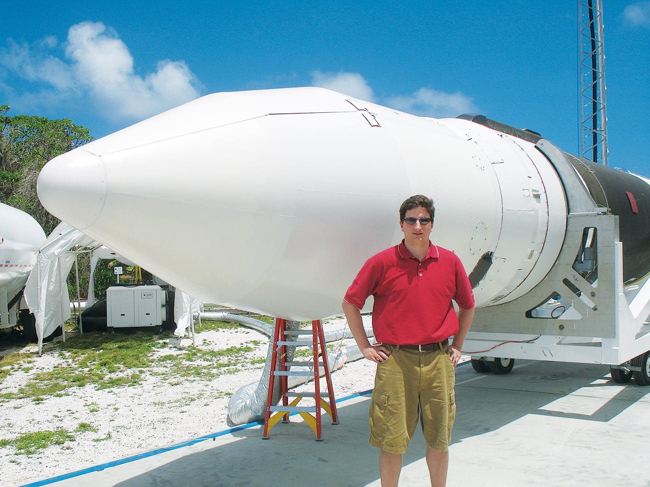 Markusic at SpaceX's launch site on Kwajalein Atoll, in early 2006.