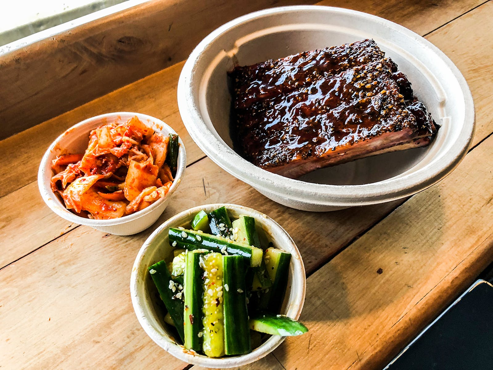 Ribs, kimchi, and pickles from Ricewood