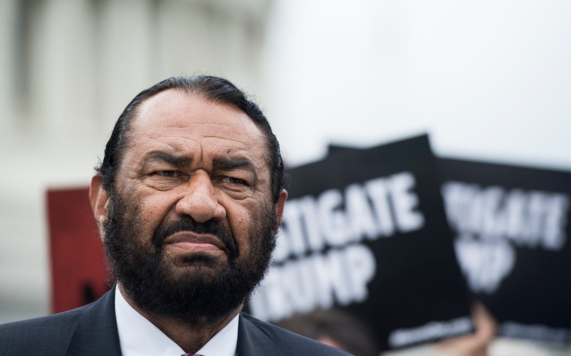 Rep. Al Green, D-Texas, participates in an event on May 9, 2019, urging the U.S. House of Representatives to start impeachment proceedings against Donald Trump.