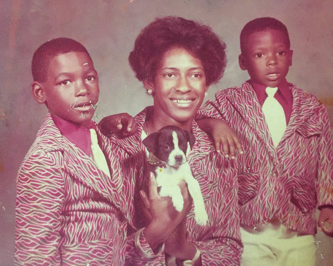 Ed, left, with his mom, Margie, and his brother, Kelvin, around 1975.