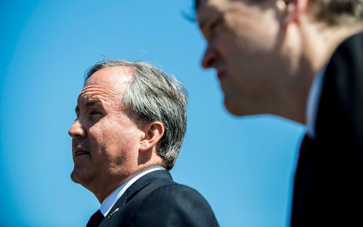 Texas Attorney General Ken Paxton speaks to reporters on June 9, 2016 in Washington, D.C.