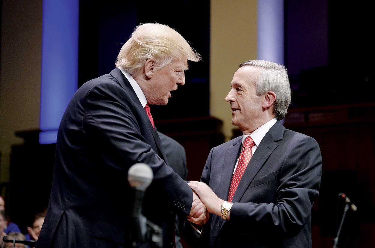 Donald Trump greeting Jeffress at the Celebrate Freedom Rally in Washington, D.C.