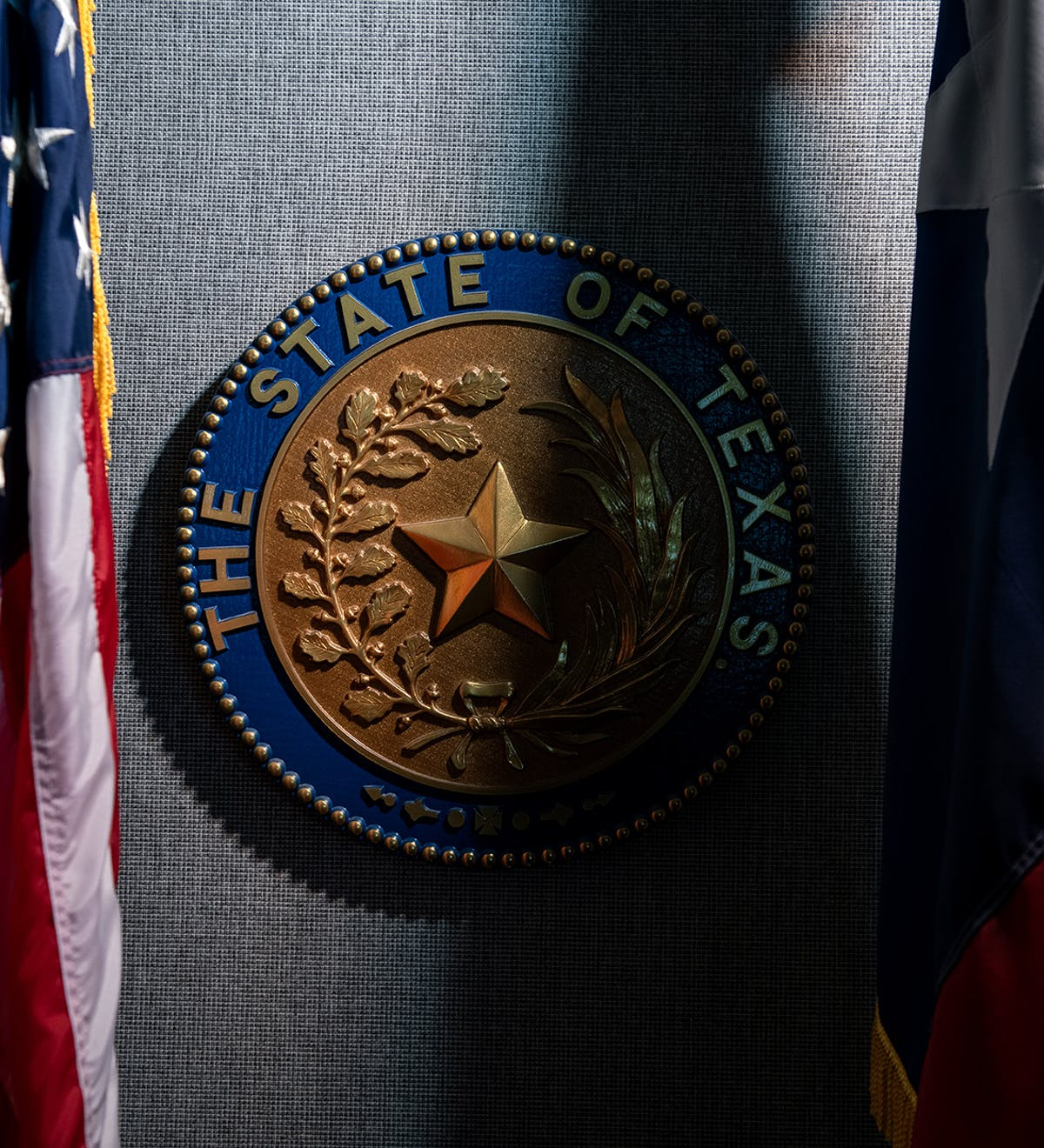 A replica of the state seal in the courtroom of Judge Karen Sage, in Austin.