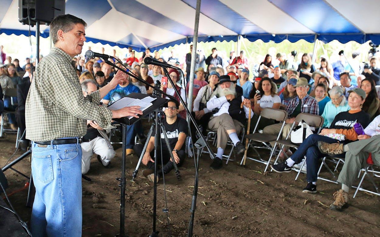 Filemon Vela speaking at the Santa Ana National Wildlife Refuge