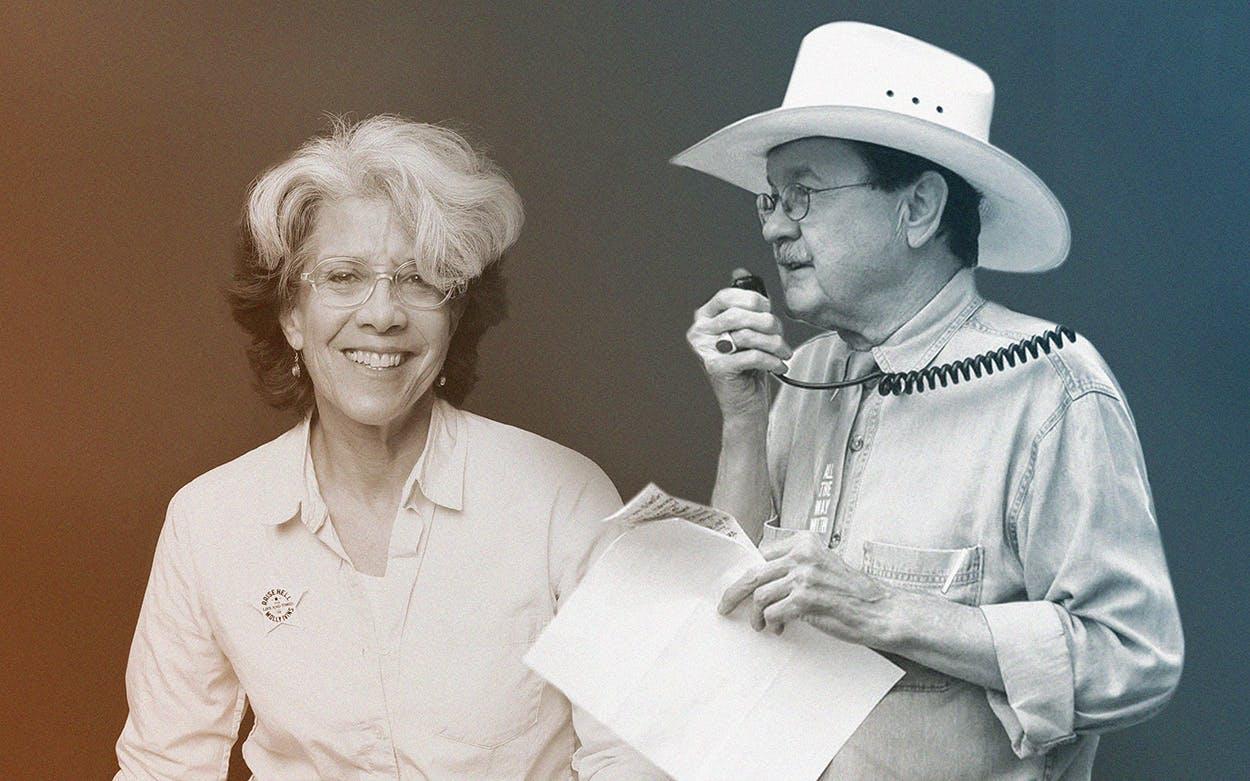 Janice Engel and Jim Hightower
