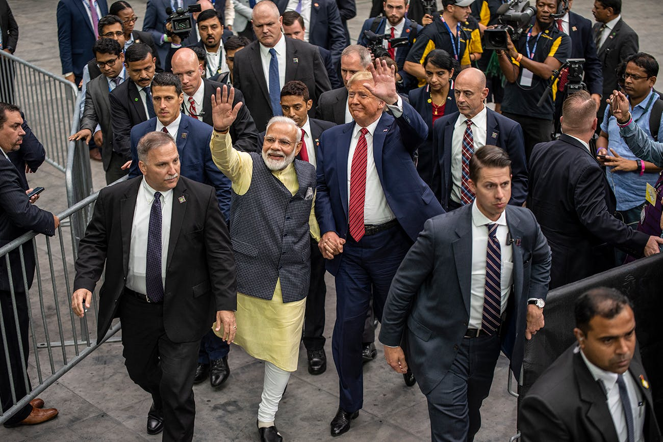 Indian Prime Minster Narendra Modi and U.S. President Donald Trump leave the stage at NRG Stadium after a rally on September 22, 2019 in Houston.