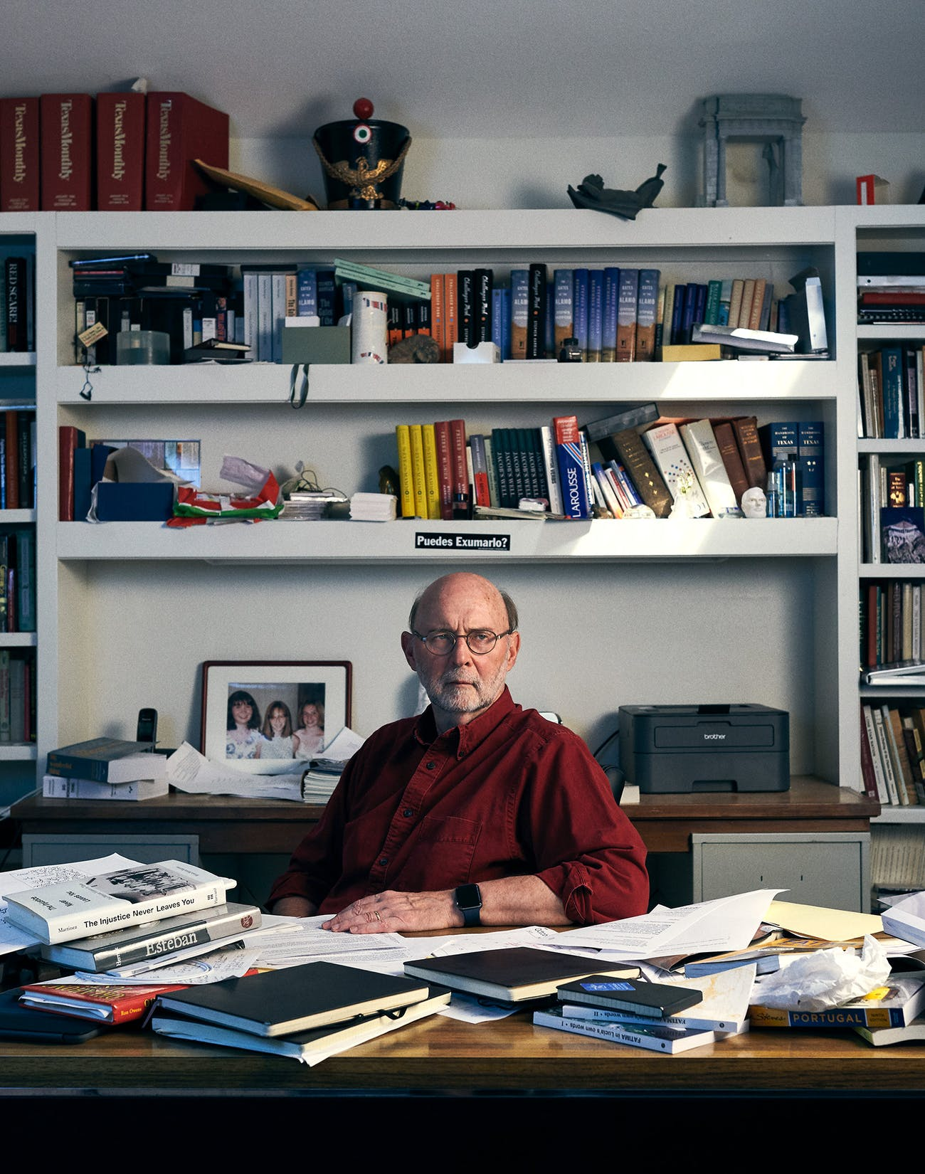 Stephen Harrigan in his home office in Austin on July 29, 2019.