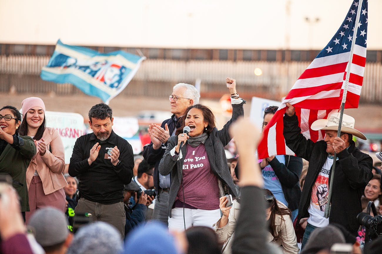 Escobar speaks at a protest of the proposed border wall on February 11, 2019, in El Paso.