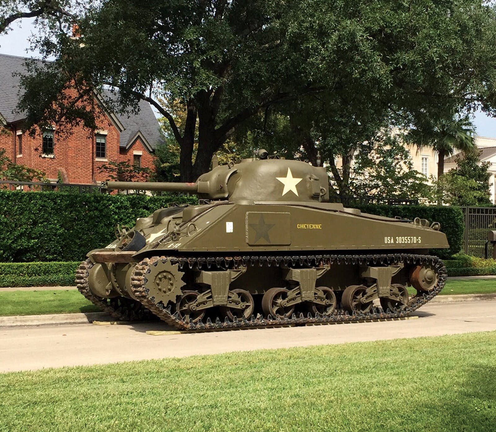 World war era tank at buzbee's home