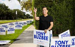 Houston mayoral hopeful Tony Buzbee in his neighborhood