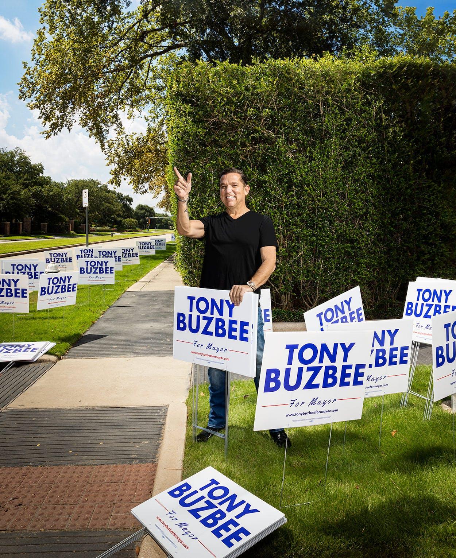 Tony Buzbee in his Houston neighborhood