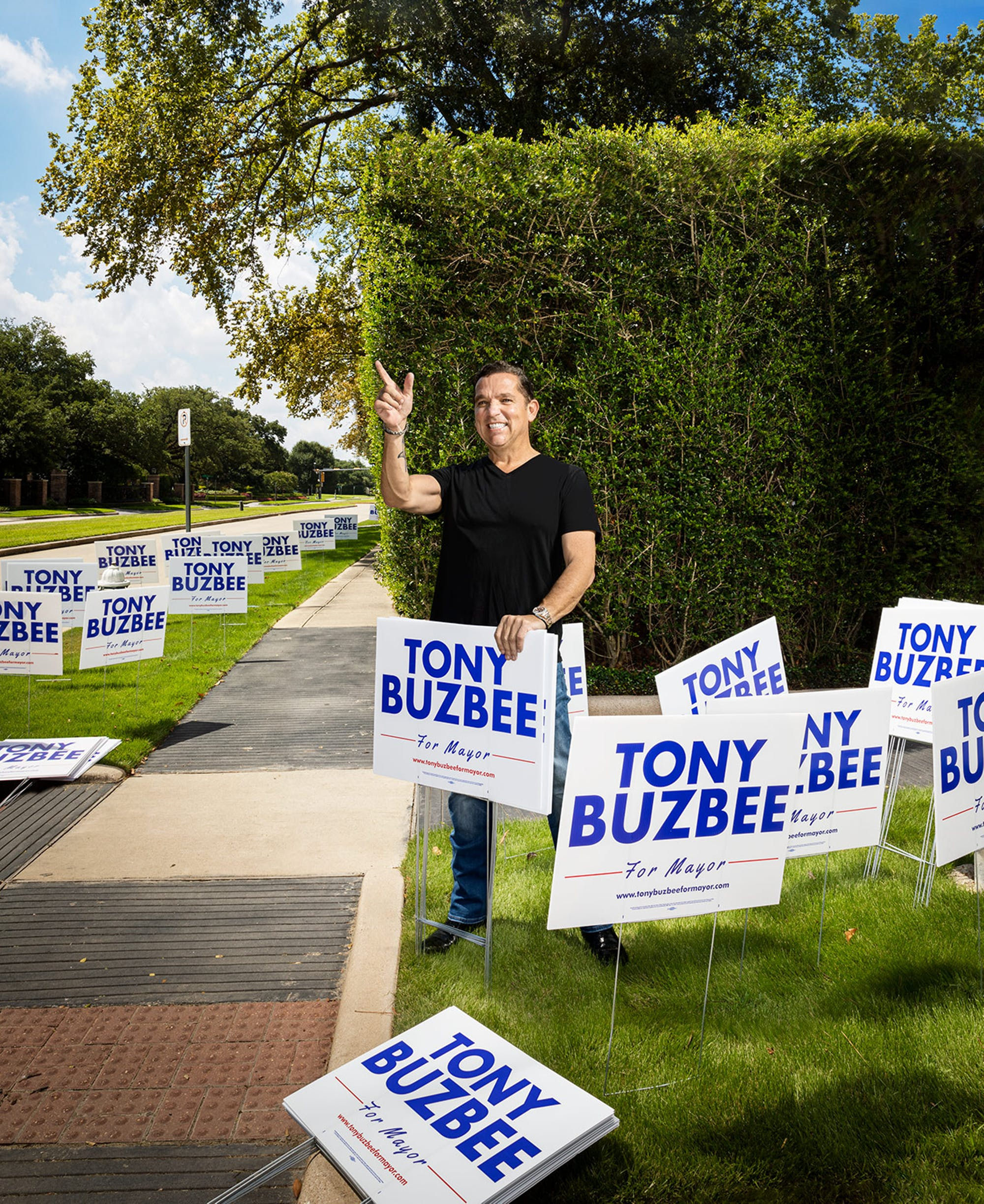 Tony Buzbee in his Houston neighborhood