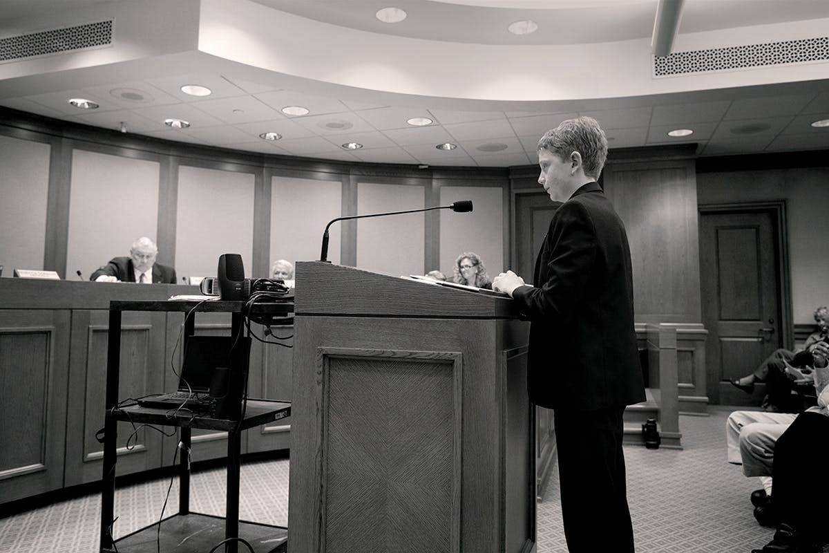 Jacob Hale testifying at the Capitol