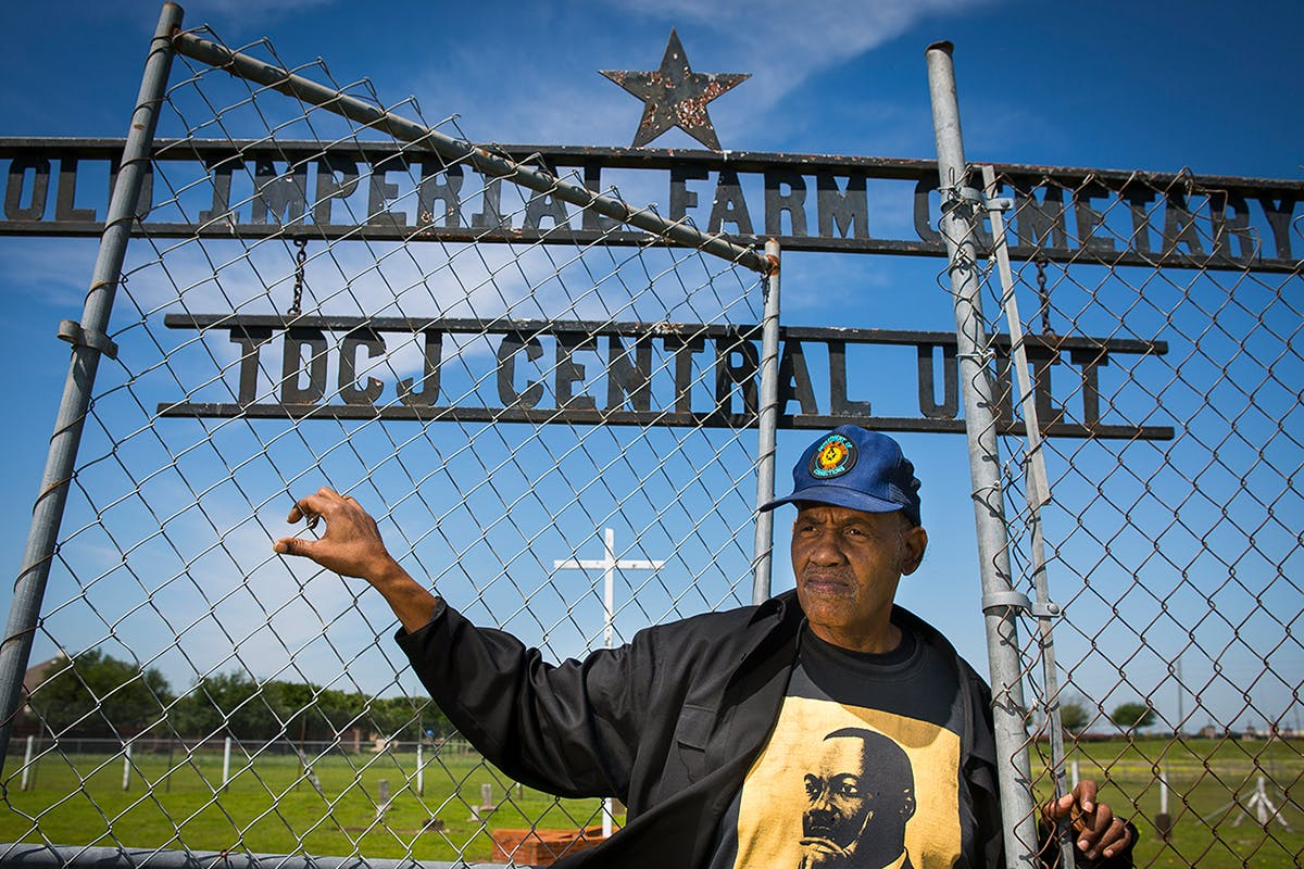 Reginald Moore outside of Sugar Land Cemetery
