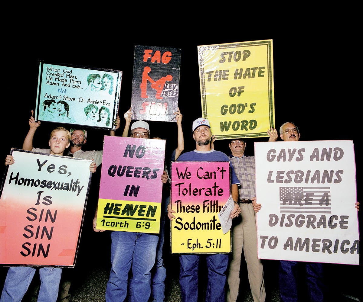 A protest group from Heritage Baptist Church, of Mount Enterprise, on October14, 1999.