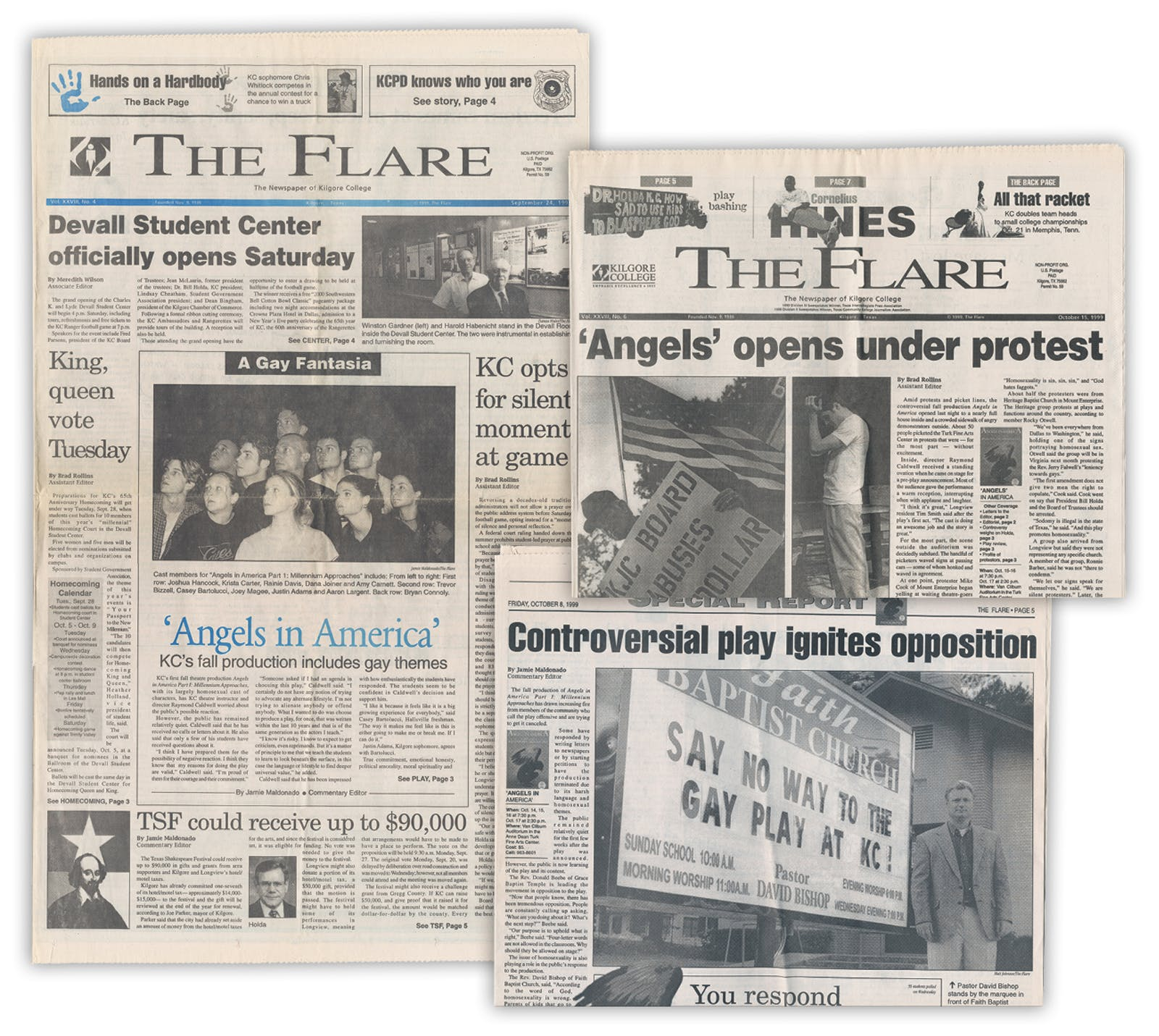 Copies of the college's newspaper, the Flare, published during the controversy over Angels in America, in 1999.