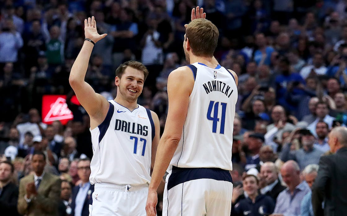 Luka Doncic and Dirk Nowitski