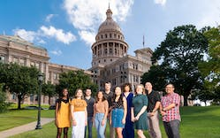 Our new editorial staffers, from left to right: Doyin Oyeniyi, Cat Cardenas, Leif Reigstad, Arielle Avila, Forrest Wilder, Bolora Munkhbold, Paula Mejia, Anan Walsh, dan Solomon, and Jose Ralat at the Capitol, in Austin, on September 26, 2019. Not pictured: Amal Ahmed and Wes Ferguson.