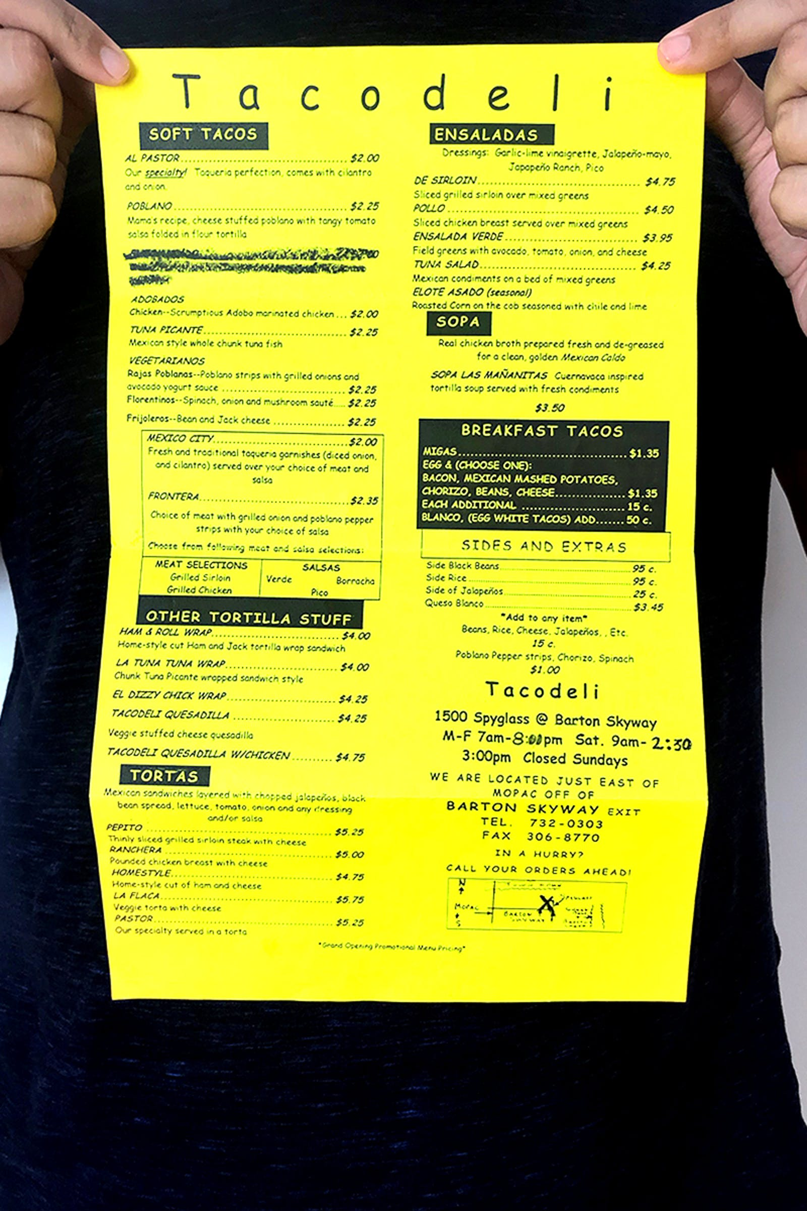 Tacodeli menu.