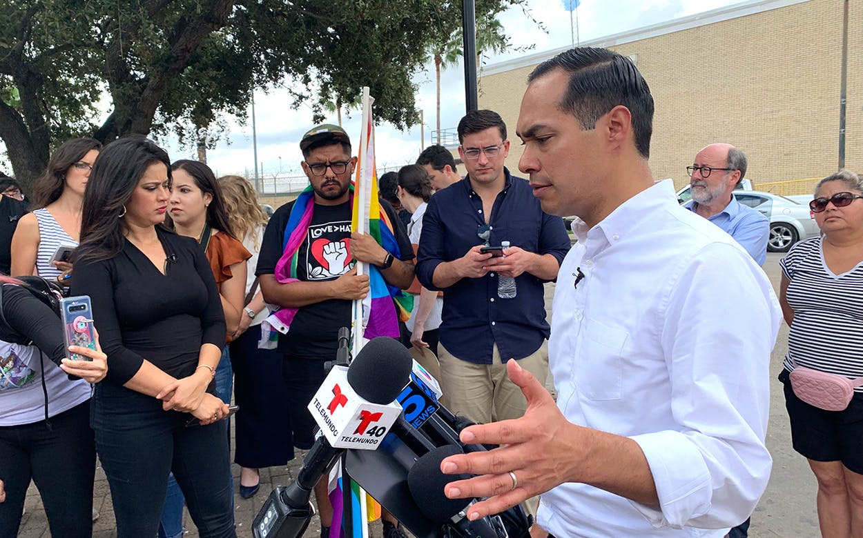 Julian Castro at migrant camp in Matamoros