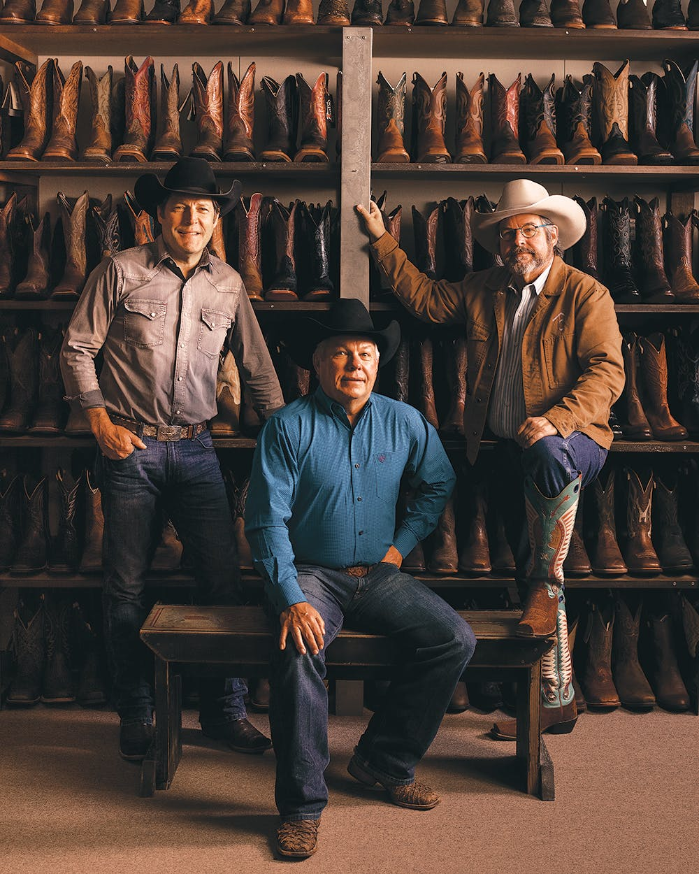 Clay in Lucchese boots, Joe in Old Gringos, and Mike in Rocketbusters.