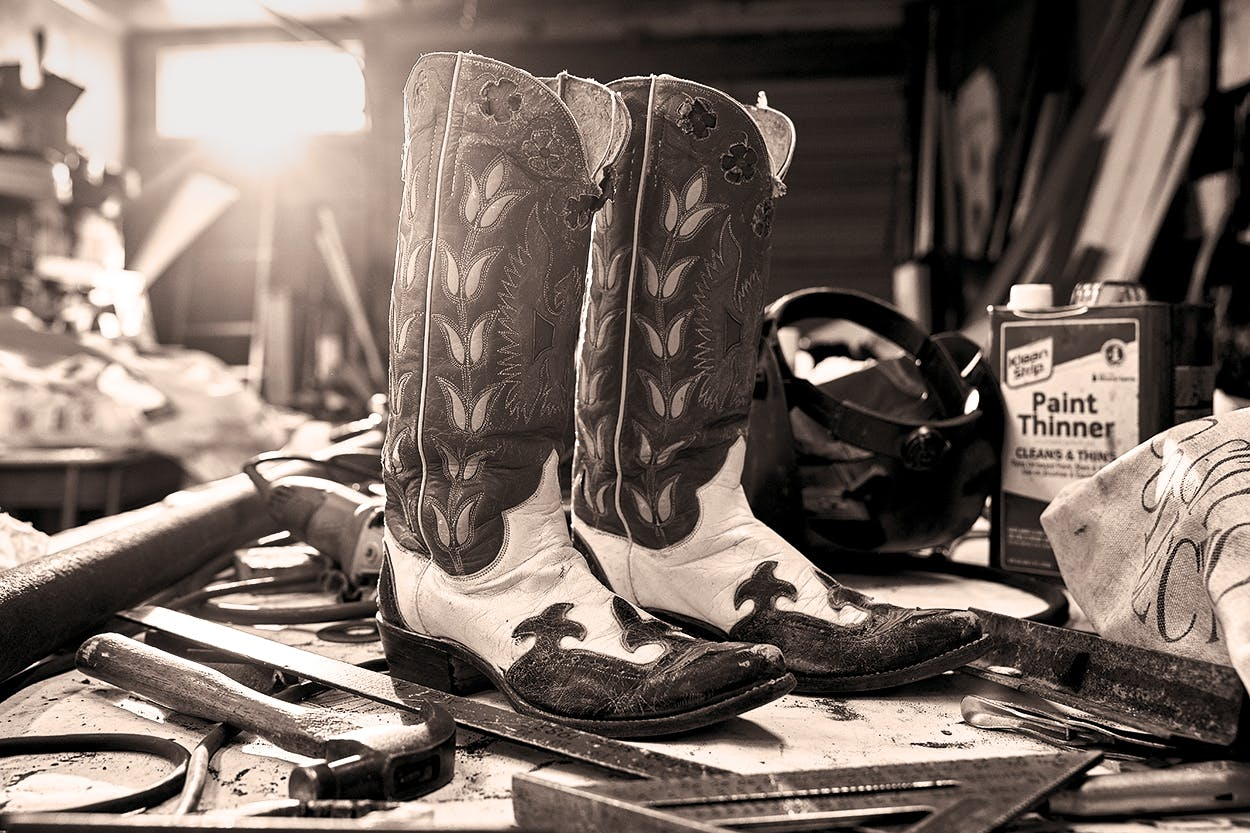 His grandfather's 1930s boots from Hyer Boot Company, in Olathe, Kansas.