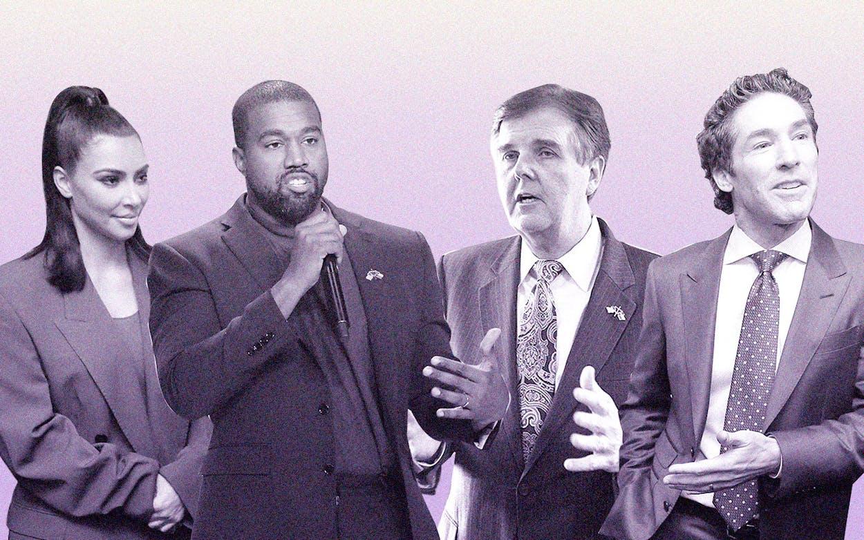 Kardashian, West, Olsteen and Patrick in Houston