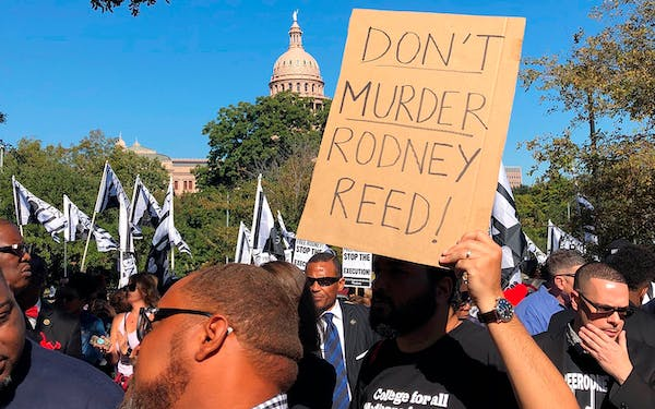 Supporters rally to stop the execution of Texas death row inmate Rodney Reed outside the governor's mansion in Austin on Saturday, Nov. 9, 2019.