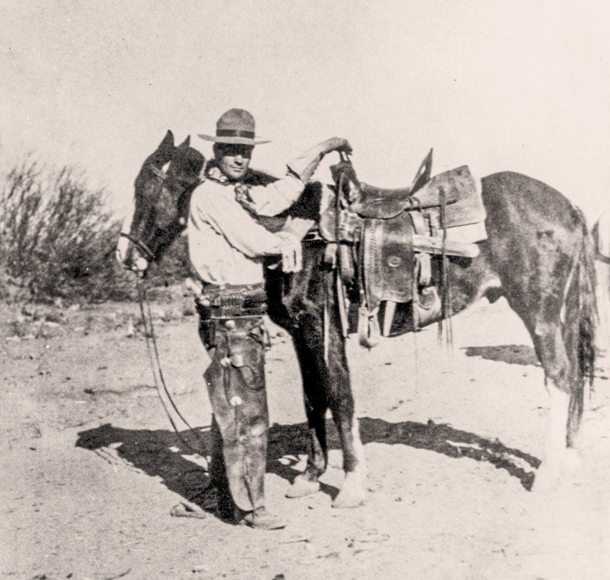 A Presidio County cowboy, circa 1900.