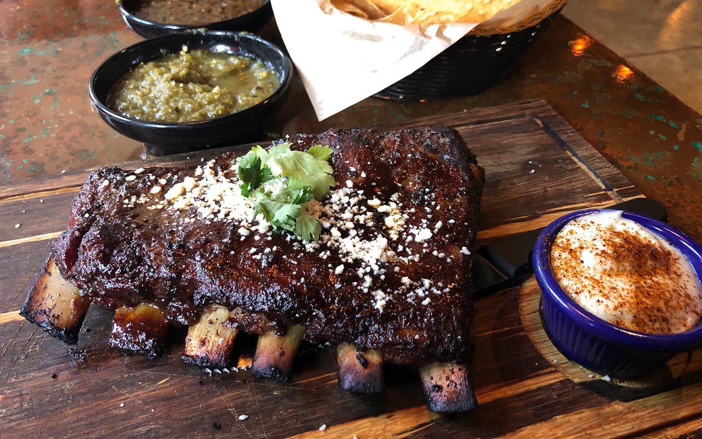 Tex-Mex pork ribs with chili-lime butter at Candente.