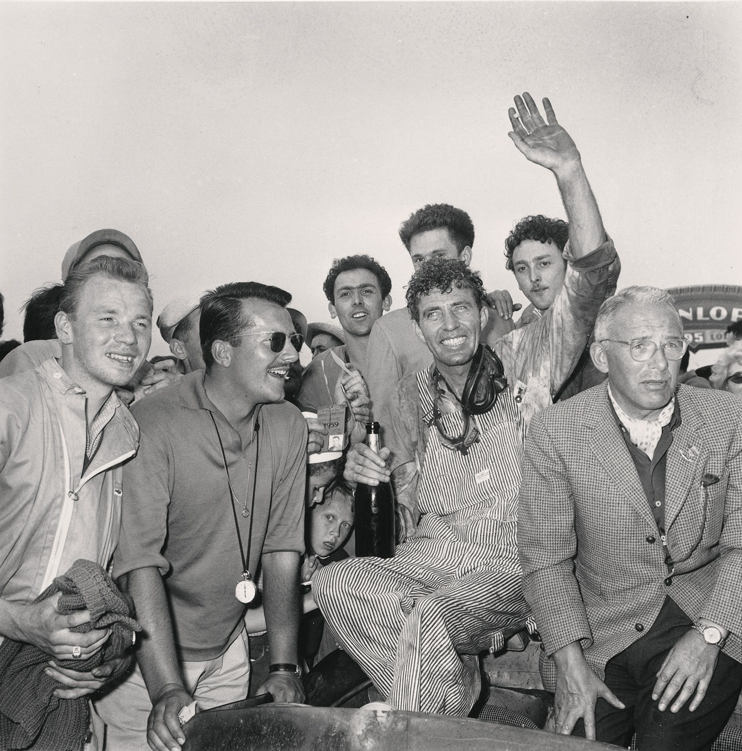 Race car driver Carroll Shelby, of Dallas, is surrounded by fans after winning the 24-hours endurance race at Le Mans, France, on June 21, 1959. He and teammate Roy Salvadori, not shown, drove their Aston Martin to victory at an average speed of 181 kmh.