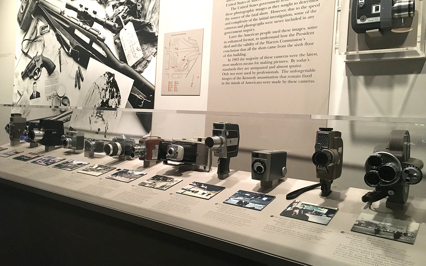 Cameras in the Sixth Floor museum in Dallas