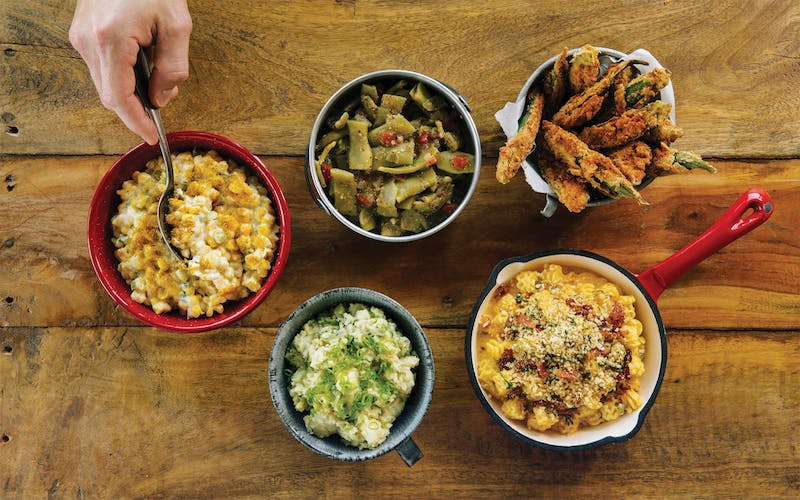A variety of sides at Hot Box Biscuit Club in Fort Worth.