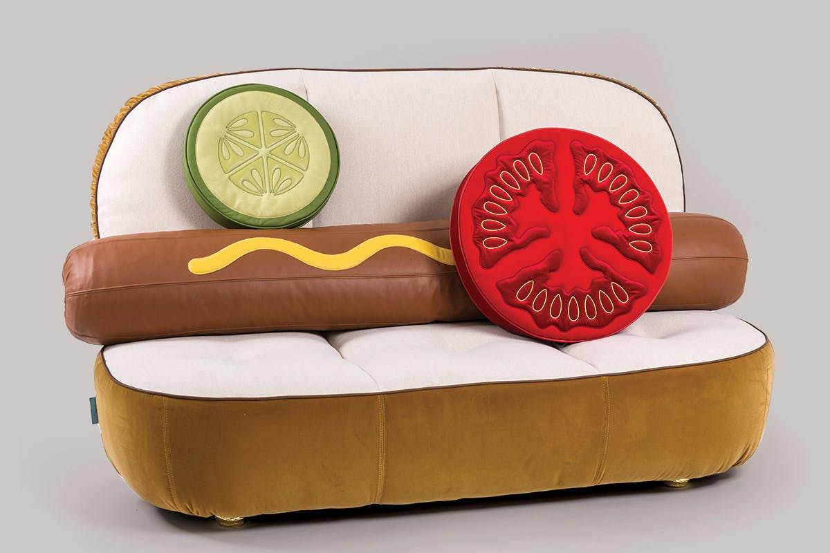"The Seletti Sofa ""Hot Dog,"" on sale at Neiman Marcus for $7,100 (plus an extra $295 for shipping)."